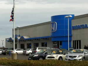 A Honda dealership in the auto mall in Elk Grove, a suburb of Sacramento.